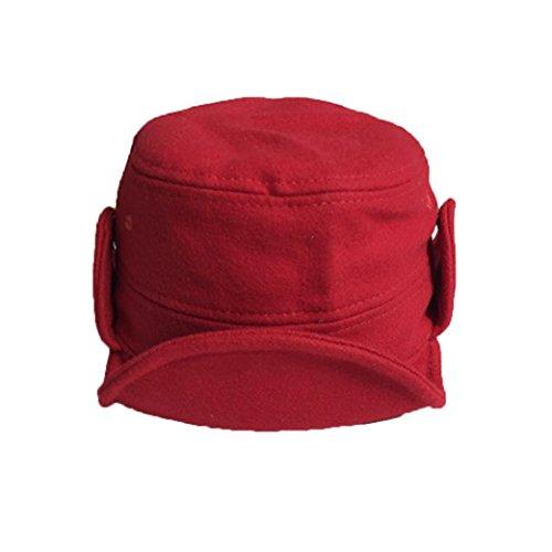 Baby Hut Transer® Unisex Mädchen/Jungen Kleinkind Säugling Cap Samt Glänzend Wärmer Winter Outdoor Mützen mit Flauschigen Ball Anzug von 1-6 Monaten (Rot) (Anzug Georgette)