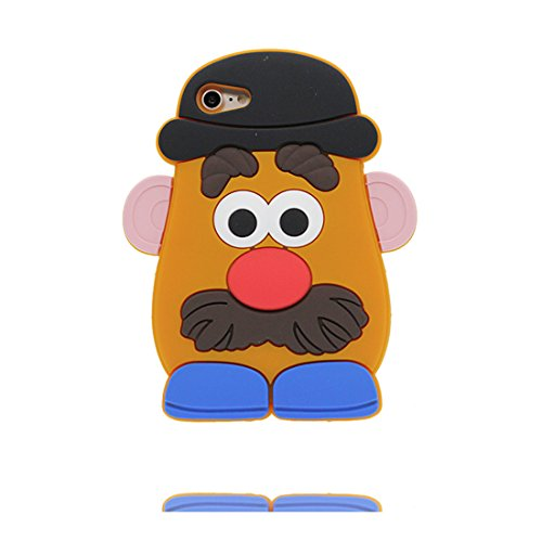 iPhone 7 Custodia, TPU Safe / Case iPhone 7 Copertura / Shock Dust Resistant Shell iPhone 7 Cover e tappi antipolvere (gratis) / Cartoon 3D Smiley Face baba arancione