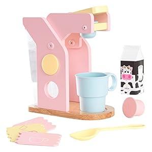 KidKraft 63380 Juego infantil con cafetera de madera, juego de imitación para niños con accesorios incluidos - Color pastel