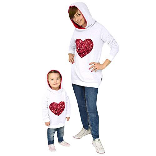 MCYs Mommy & Me Kinder Langarm Herz-Typ mit Kapuze Sweatshirt Familie Kleidung Pullover Sweatershirt