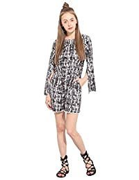 Lucero Black & white crepe casual jumpsuit / playsuit for women and girls