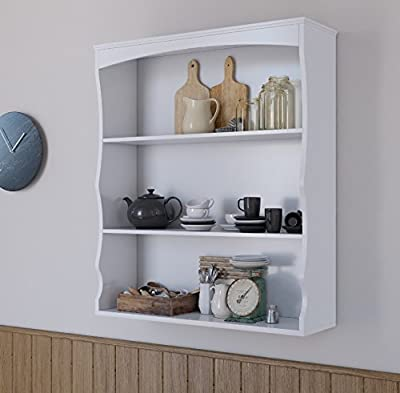 Wall Mounted Shelves Painted White 3 Book Shelves Ideal for Kids Bedroom Kitchen - low-cost UK light shop.