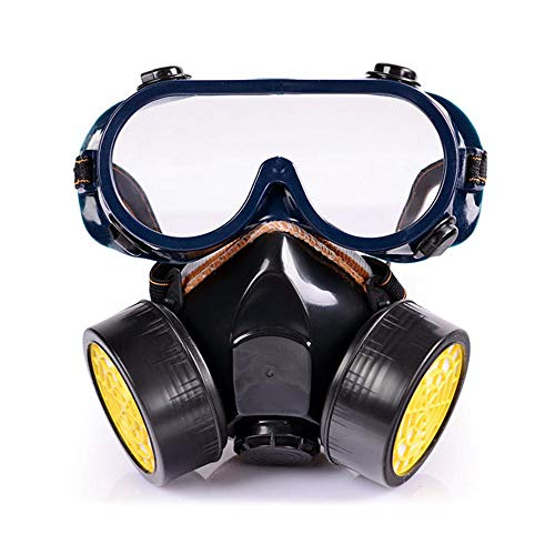 Baiwka Dual Anti-Staub-Gas Atemschutzmaske, Sprühfarbe Industriechemikalien Gas Staub Sicherheit Gesichtsmaske Kit Brille Brille Set Für Carpenter Builder Polieren Staubdicht (Pc Kit Builder)