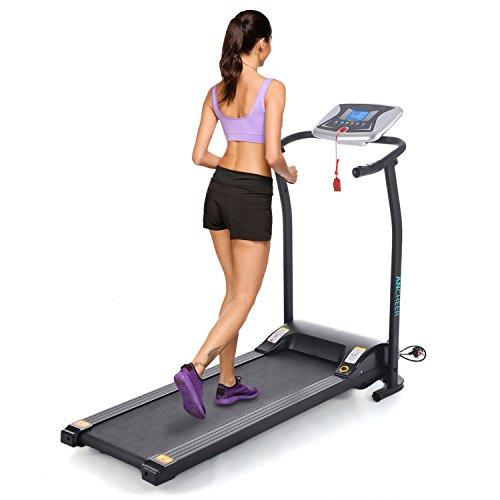 Imposes Mini Laufband Elektrisch Fitnessgeräte Zusammenklappbar Faltbares Laufband Heimtrainer mit LCD Bildschirm Zuhause Büro 125 x 59,9 x 107 cm (EU Lager) (Schwarz)