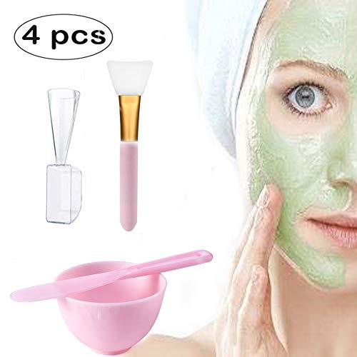 Gesichtsmaske Rührschüssel Set, 4 in 1 DIY Silikon Maske Mischen Gesichtsmaske Werkzeug Kit Maske Bowl Gesichtsmaske Pinsel Silikonspachtel Flüssiges Pulver Messbecher Hausgemachte Schönheit Werkzeug (Hausgemachte Werkzeuge)