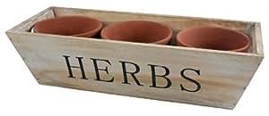 Mini cagette en bois pour plantes aromatiques avec 3 Pots en terre cuite