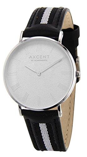 axcent of scandinavia–ix57204-06career–unisex watch–analogue quartz–white dial–black leather strap