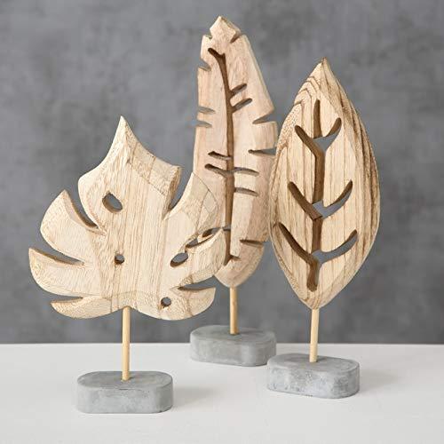 3er Set Deko Objekt Blatt Holz 14-20 cm Dekoration Aufsteller Blätter -