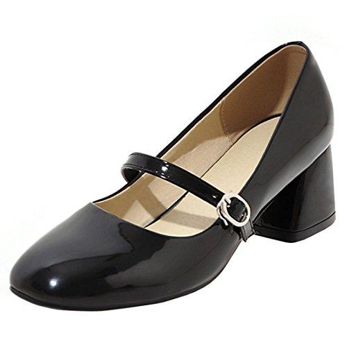 Atyche Damen Mary Jane Riemchen Halbschuhe mit Blockabsatz 5cm Absatz und Schnalle Bequem Lack Schuhe