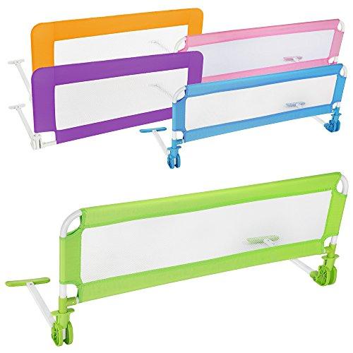 TecTake Barriera per letto da bambini sponda ribaltabile pieghevole universale 102cm - disponibile in diversi colori - (Verde)