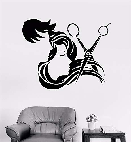 Wandaufkleber Kinderzimmer Mann und Mädchen lange Haare Schere Werkzeuge Art Decal Barber Shop Dekor für Friseursalon Salon Pflege