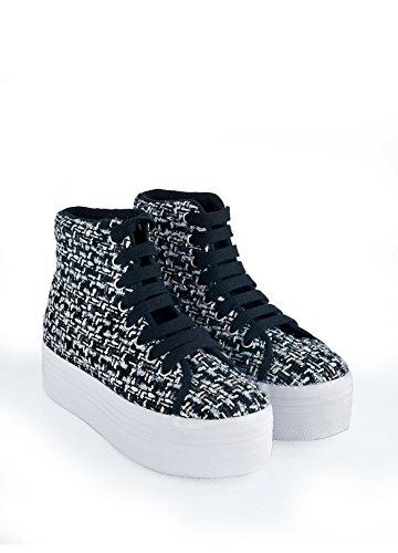 JEFFREY CAMPBELL EPLAY Sneaker HOMG Tweed Nero-Argento MULTICOLORMULTICOLOR