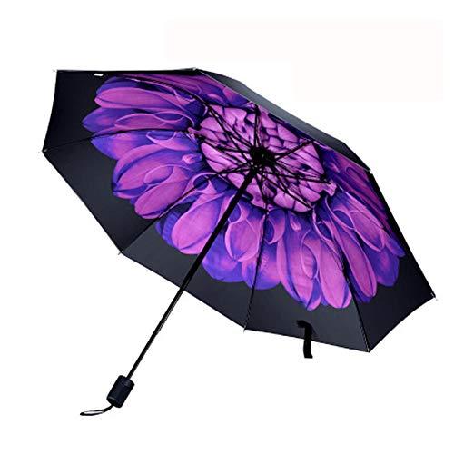 Manuell Klassisches Winddichtes Folding Compact Travel Umbrella Schwarz Kunststoff Tri-fach Shade Sunny Regen Dual-Use kleine frische Regenschirm,Lila