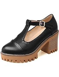 TAOFFEN Mujer Moda Ancho Alto Tacon Plataforma Boca Baja Zapatos Casual Oficina Zapatos