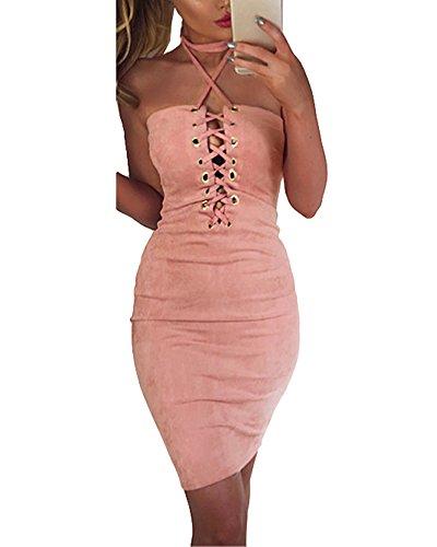Romacci Damen Off Schulter Kleid Halter Crisscross Bandage Bodycon Kleid Party Clubwear