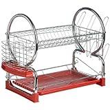 Premier Housewares 2-Tier Dish Drainer - Red