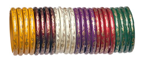 A.B.S. by Allen Schwartz Glass bangles for women traditional & Wedding Decorated by golden painting(2.6)
