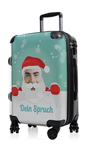 """HAUPTSTADTKOFFER® · Hartschalenkoffer Handgepäck Koffer Trolley Reisekoffer Hartschale · Serie """"Style"""" (Retro Sommer Strand) Santa-Dein Bild Claus Grün"""