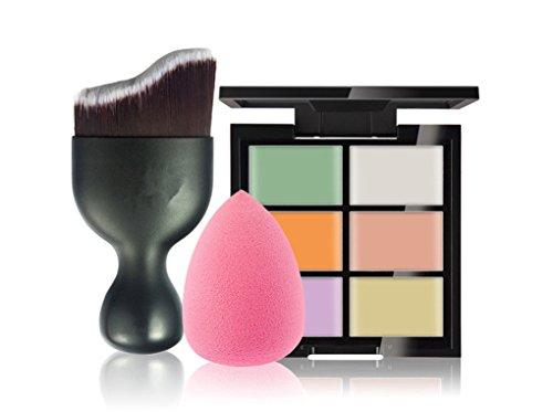 FantasyDay® 6 Couleurs de Maquillage Crème Visage Lèvres Cache-ernes Mettez en Surbrillance Contour Correcteur Camouflage Palette Fond de Teint Pour Cosmétique + 1PC Pinceau Maquillage + 1 beauty blender #1