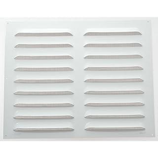 Wetterschutzgitter Lüftungsgitter Aluminium weiß 40 x 50 cm mit Fliegendraht Lamellengitter