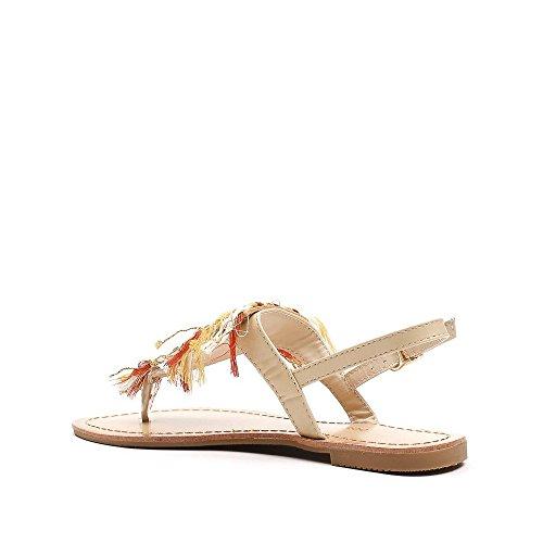 Ideal Shoes Sandales Plates avec Empiècement Style Hippie Betanie Beige