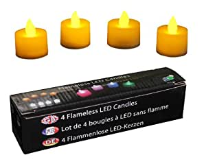 Amber LED Electric Tealights Set Of 4 Battery Powered Flameless Candles for Home, Party, Event by PK Green
