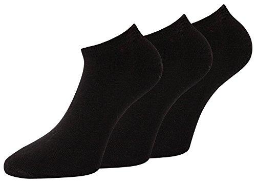 Herren Sneaker Socken schwarz Bambus Socken Sneaker Socken kurz Übergrösse Sneakersocken Set Gr 43-46, 6 Paar -