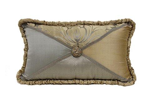 Austin Horn Classics Herzogin von Boudoir Button Kissen, 35,6x 61cm Aqua Gold (Aqua-boudoir Kissen)