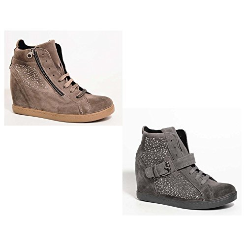 Cristina ovye by lucchi, baskets femme en cuir véritable orné de chaussures en daim véritable permettent fabriquéà la main en italie.