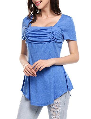 Meaneor Damen A Linie Shirt tunika spitze Tops Longshirt loose Bluse Minikleid Kurzarm Oberteile Einfarbig Y+Blau