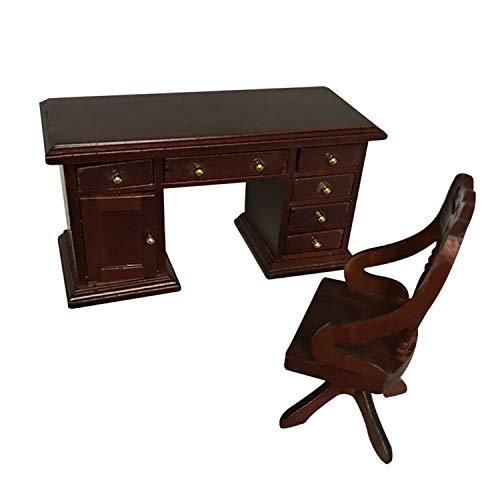 FiedFikt Juego de mini sillas de escritorio 1:12 para casa de muñecas en miniatura,...