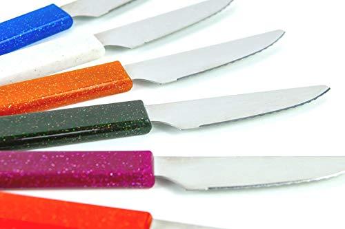 LaXon Brötchenmesser Frühstücksmesser rostfrei, Küchenmesser Set bunt (6-teilig), scharfe Klinge, spülmaschinengeeignet