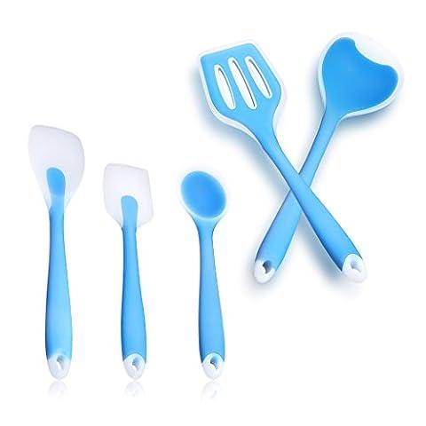 TWH 5 Stück Silikon-Küchenutensilien Hitzebeständig Antihaft Küche Kochutensilien einschließlich Esslöffel,