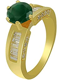 Much More 18k Gold Plated Jade Stone Added Fashion Ring For Women & Girls Jewelry