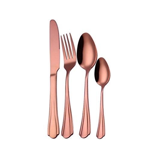 Longra 4PCS Set Acier Inoxydable Haut de Gamme Vaisselle Couverts Brillant Couverts de Table Couverts en INOX Coutellerie Fourchette Cuillère Cuillère à café pour Cuisine Ménagers (Or Rose)