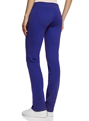 oodji Ultra Damen Jersey-Hose mit Bindebändern Blau (7500N)