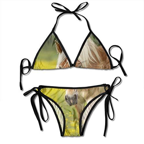 hdghg shop Frauen Badeanzug Beautiful Brown Horse Women's Bikini Set Swimsuit Bathing Suit Halterneck Triangle Swimwear Two-Piece Suits - Brown Womens Bikini