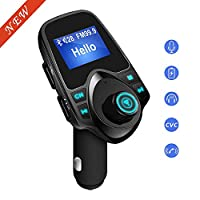 """FM Transmitter,SMBOX Bluetooth Car Transmitter Mp3 Player Handsfree Car Kit Wireless Car Charger Adapter with 1.44"""" Display Screen,Dual USB Charging Support TF Card Slot,U Disk Port/3.5mm Audio Port"""