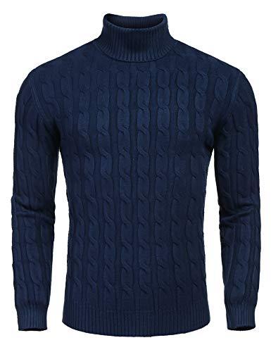 Wixens Herren Rollkragenpullover Feinstrick Sweater Slim fit Langarm Pulli mit Rippstrick (C-Marine Blau, XL) - Blaue Gerippten Rollkragenpullover