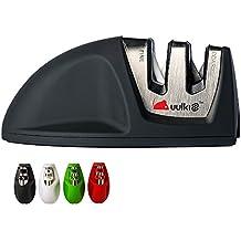 Uulki® Original MOUSE Kompakter Messerschärfer – hochwertige Ausführung mit feine Gummibeschichtung und rutschfeste Gummibasis – Passt in jede Schublade (Schwarz)