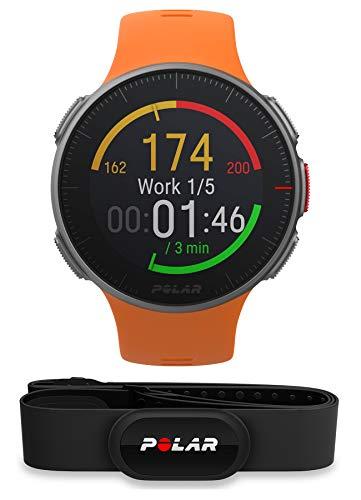 Polar Vantage V, Exclusive Edition, Multisportuhr, Pulsmesser, GPS inkl. H10 Herzfrequenzsensor, Orange, Größe M/L
