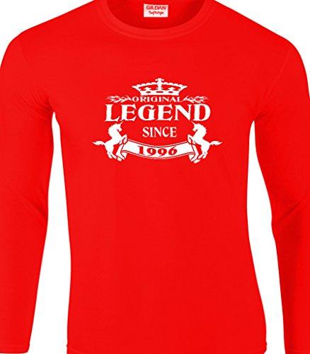 21st Geburtstag Langärmeliges T-Shirt 'Original Legend Since 1995' - Toller Geburtstagsgeschenk Rot