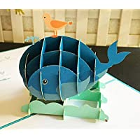 BC Worldwide Ltd fatto a mano 3D pop up birthday card uccello balena mare oceano animale San Valentino, anniversario di matrimonio, festa della mamma, festa del papà, grazie, baby shower