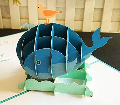 dgemachte 3D Pop-up Geburtstagskarte Wal Vogel Meer Ozean Tier Valentines, Hochzeitstag, Muttertag, Vatertag, danke, Baby-Dusche ()