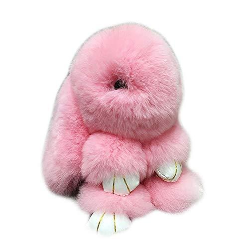 FancyAuto Flauschige Hase Schlüsselanhänger Weich Flauschig Kaninchen Spielzeug Schlüsselbund Auto Schlüsselring Auto Zubehör(Groß/Rosa)