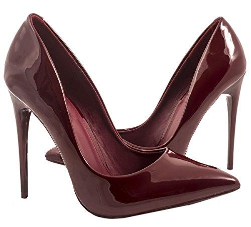 Elara Spitze Damen Pumps | Bequeme Lack Stilettos | Elegante High Heels Bordo New