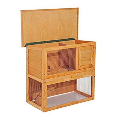 Pawhut 2-Tier Double Decker Wooden Rabbit Hutch Pet Cage Run Guinea Pig Hutch with Sliding Tray Opening Top by Sold by MHSTAR