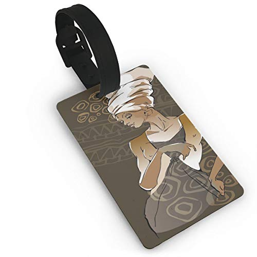 Lovely Travel Secure Luggage Tags for suitcases, Sketch of Stylish Pretty African Lady Ancient Ethnic Geometric Doodles,Handbag Tag Labels ID - Royal And Ancient Golf