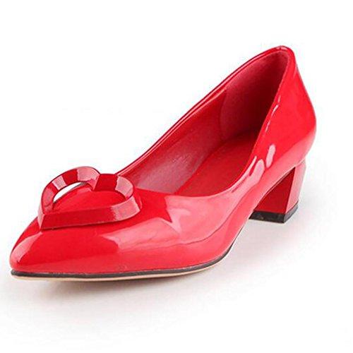 W&LMScarpe appuntito Bocca poco profonda Basso aiuto scarpa Tacchi alti Scarpe singole Red