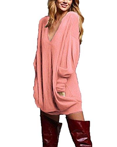 Zanzea donna pullover maglia scollo a v manica lunga camicetta sweater autunno inverno partito rosa* it 50/tag 2xl
